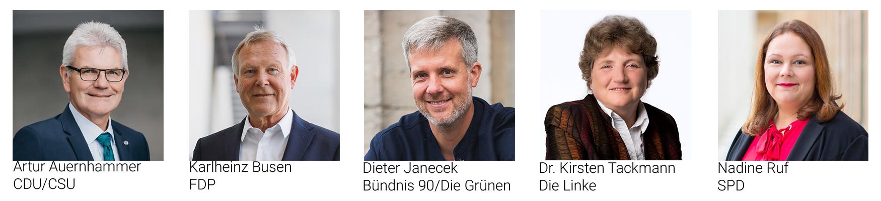Vertreter & Vertreterinnen der Fraktionen aus dem Deutschen Bundestag